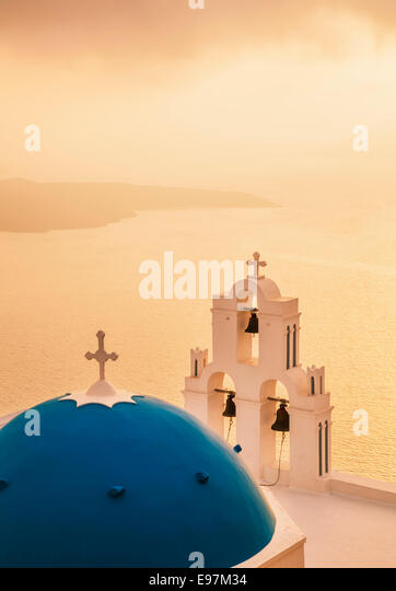 St Gerasimos church at sunset , Firostefani, Fira, Santorini, Thira, Cyclades islands, Aegean Sea, Greece, EU, Europe - Stock Image