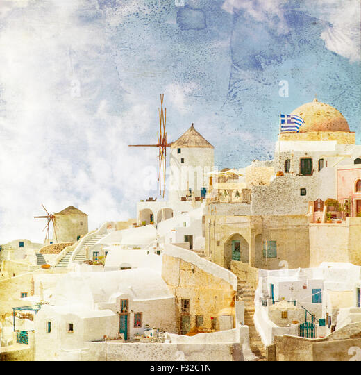 Image of the famous windmills in Oia. Santorini, Greece. Vinatge styled. - Stock Image