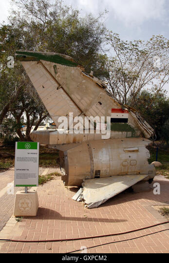 Tail of a shot down Egypt Air Force Su-7 fighter jet during the Yom Kippur war. On display in Hatzerim Airforce - Stock Image