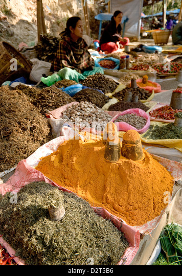 Market stall, Dakshinkali Shrine, Kathmandu Valley, Nepal, Asia - Stock Image