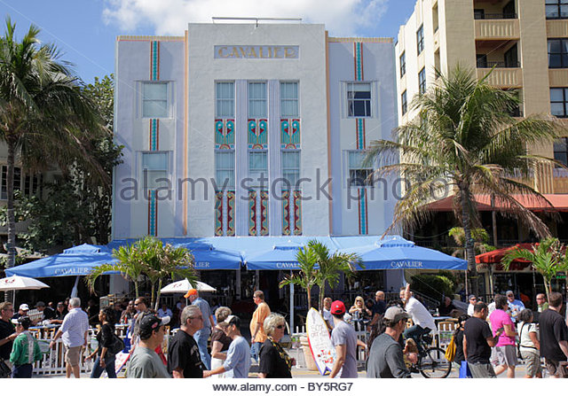 Miami Beach Florida Art Deco District Ocean Drive Super Bowl XLIV Week NFL football Cavalier Hotel - Stock Image