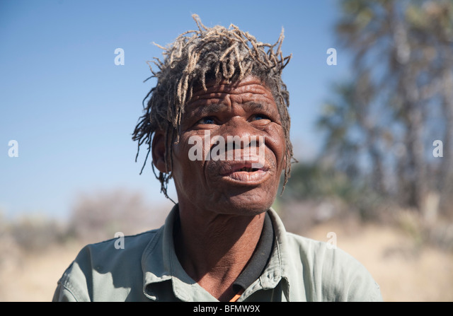 Botswana, Makgadikgadi, Jack's Camp. A portrait of an old Bushman guide. - Stock Image