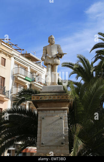 El Greco (1541-1614). Painter. Spanish Renaissance. Statue of El Greco. Sitges. Catalonia. Spain. - Stock Image
