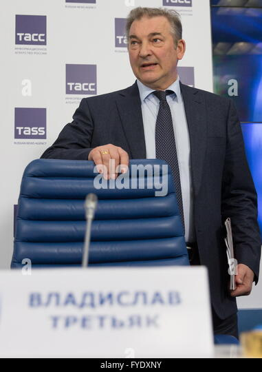 Moscow, Russia. 26th Apr, 2016. Russian Ice Hockey Federation President Vladislav Tretiak attends a press conference - Stock Image
