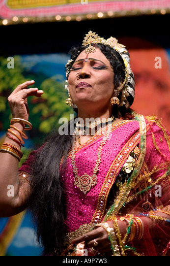 Indian street theatre actress performs a role in mahabharata play - Stock Image