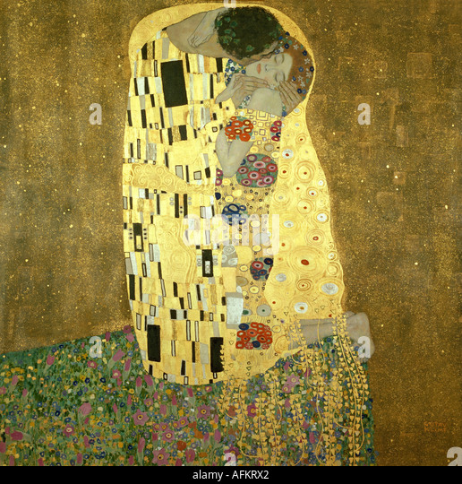 'fine arts, Klimt, Gustav, (1862 - 1918), painting, 'Der Kuss', ('the kiss'), 1907 - 1908, oil, - Stock Image