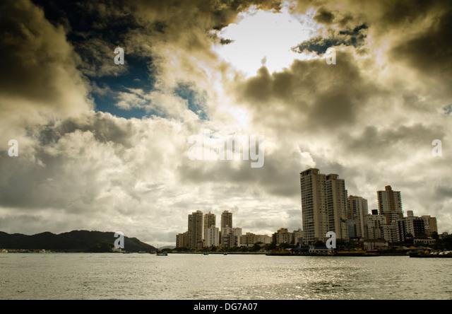 City of Santos, Sao Paulo state, Brazil. View from Guarujá city. Ponta da Praia Neighborhood - Stock Image