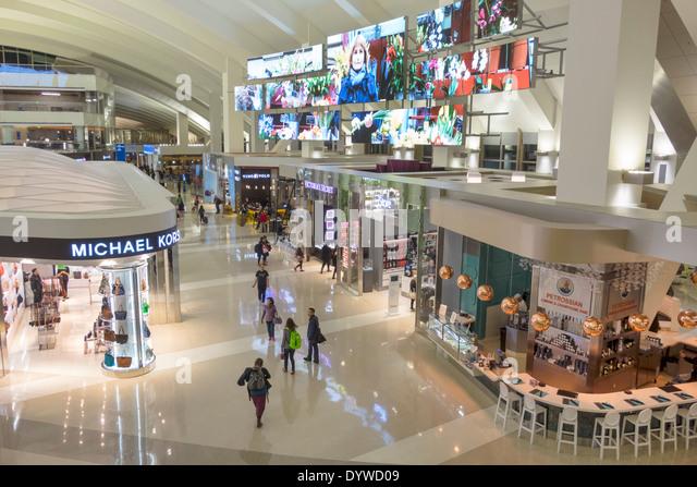 Los Angeles California CA LAX international airport Tom Bradley International Terminal concourse gate area TBIT - Stock Image