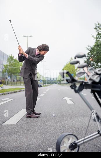 Man Risky road Cross golf deciding Decision goal - Stock Image