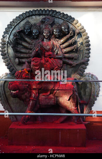 Sculptures of the mother goddess Kamakhya at the Kamakhya temple in Guwahati, Assam. - Stock Image