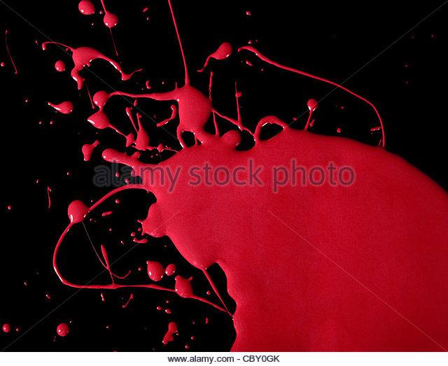 Splattered red paint - Stock Image