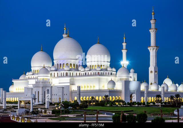 View of famous Abu Dhabi Sheikh Zayed Mosque by night, UAE. - Stock Image