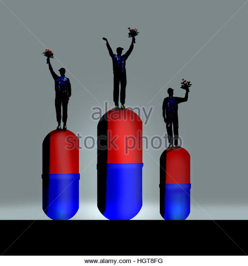 Athletes on sport winner's podium standing on top of drugs - Stock Image