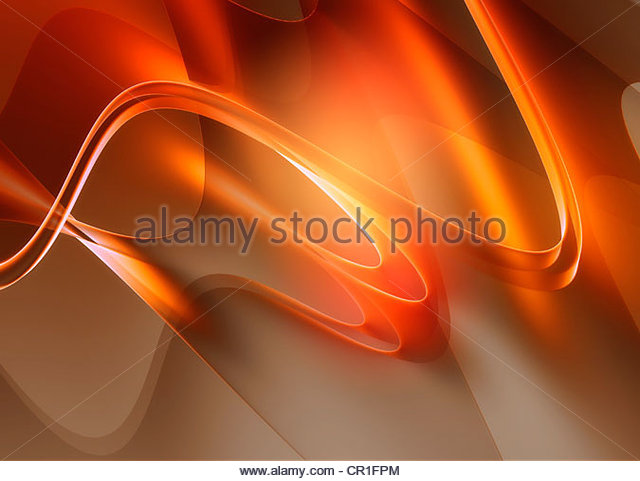 Abstract digitally generated bright orange wavy backgrounds - Stock Image