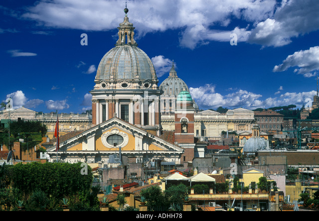 OVERVIEW FROM TRINITA DEI MONTI CHURCH ROME - Stock Image