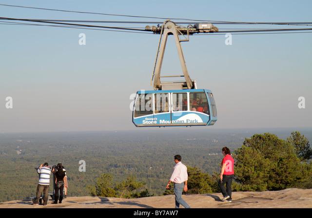 Atlanta Georgia Stone Mountain Park quartz monzonite monadnock geology summit Skyride Swiss cable car gondola lift - Stock Image
