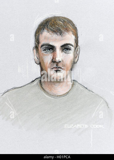 Court artist sketch by Elizabeth Cook of Royal Marine Ciaran Maxwell appearing via video-link from Belmarsh prison - Stock Image