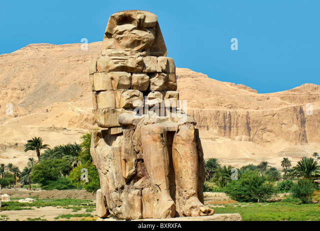 Theban Colossus of Memnon, Luxor, Egypt - Stock Image