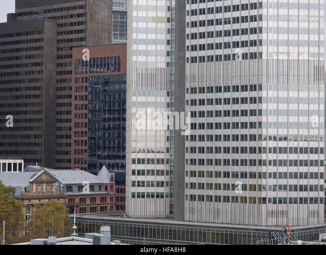 Old and new, contrasting facades, financial institutions in the center of Frankfurt am Main Hessen Germany - Stock Image