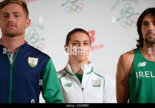 Irish Olympic team 2016 members (left-right) Arthur Lannigan O'Keefe, Katie Taylor and Mick Clohisey, during - Stock Image
