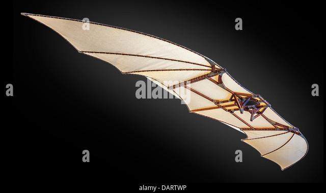 A replica of Leonardo Da Vinci's hang glider,The Wing Ornithhopter - Stock Image