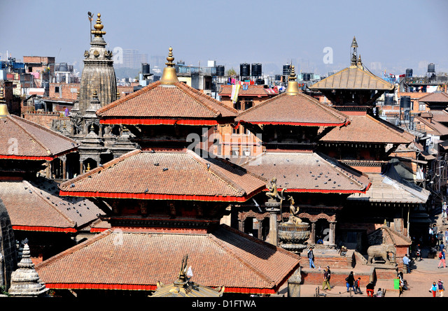 aerial view on temples of Durbar square Patan Nepal - Stock Image
