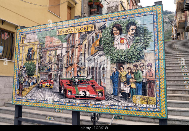 Targa Florio motor race comemerative sign in Collesano Sicily - Stock Image