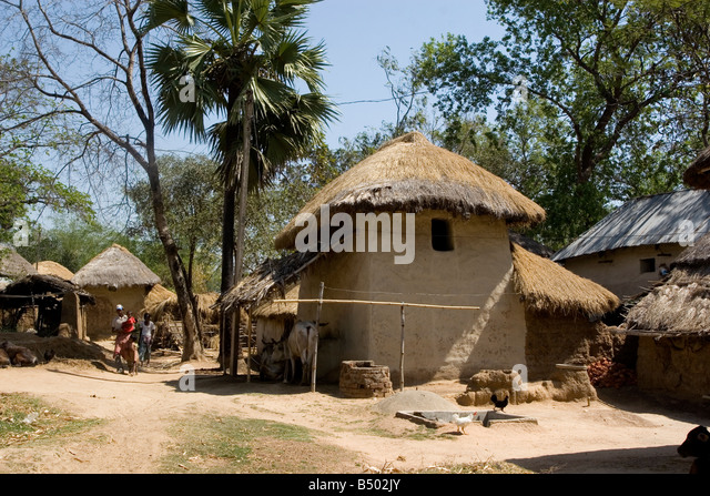 Earthen house at a remote village of West Bengal,India - Stock Image