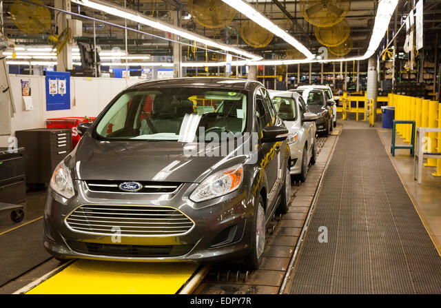 Wayne, Michigan - The Ford C-Max Hybrid at Ford's Michigan Assembly Plant. - Stock Image
