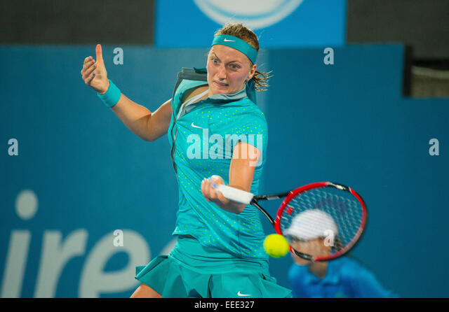 Sydney, Australia. 16th Jan, 2015. Petra Kvitova of Czech Republic hits a forehand return during the final against - Stock-Bilder
