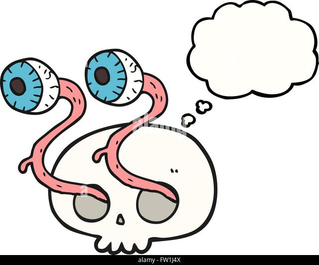 gross freehand drawn thought bubble cartoon skull with eyeballs - Stock Image