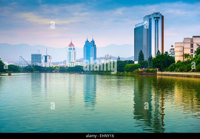 Fuzhou, China cityscape at West Lake. - Stock Image