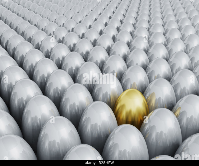 3D render of one golden egg amonst lots of silver ones - Stock Image