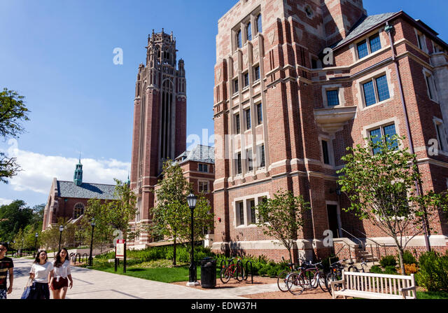 Chicago Illinois Hyde Park campus University of Chicago Asian student - Stock Image