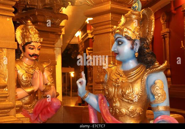 Lord Krishna preaching Bhagavadgita to Arjuna at battlefield, Kudroli Gokarnanatheswara Temple, Mangalore, Karnataka, - Stock Image