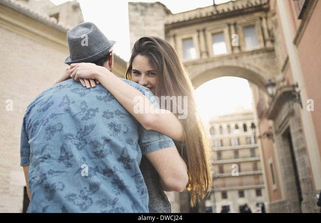Romantic young couple embracing, Valencia, Spain - Stock Image