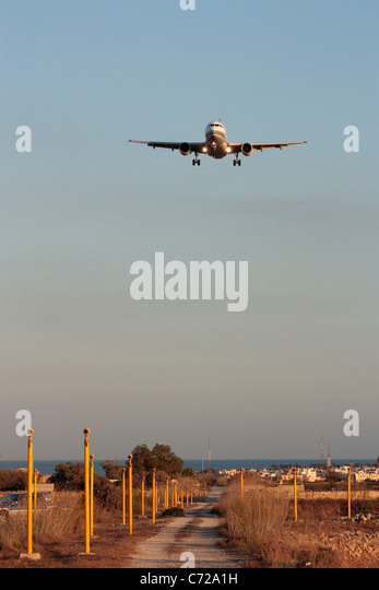 Air Malta Airbus A319 passenger jet plane on final approach - Stock Image
