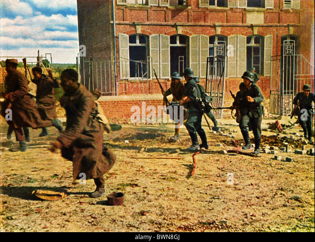 Invasion of France June 1940 history historical historic German French troops soldiers Wehrmacht German Emp - Stock Image