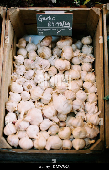 A wooden crate of garlic bulbs. - Stock Image