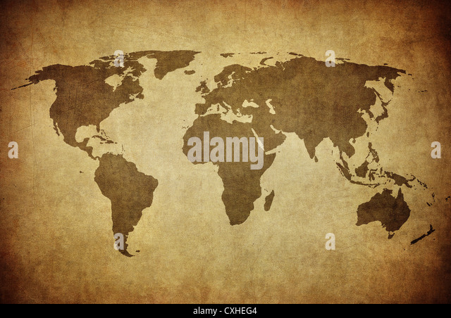 vintage map of the world - Stock Image