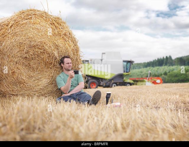 Farmer taking a break during harvesting - Stock Image