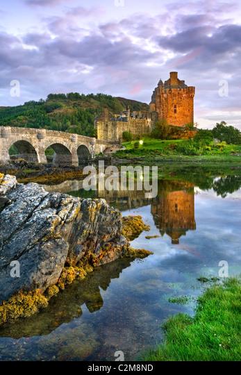 Eilean Donan Castle at Sunset - Stock Image