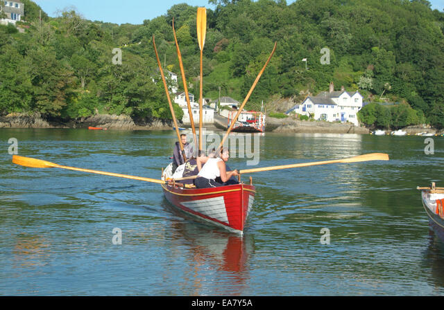 Gig in action on the River Fowey opposite Bodinnick landing at Fowey Restormel Mid Cornwall South West England UK - Stock Image