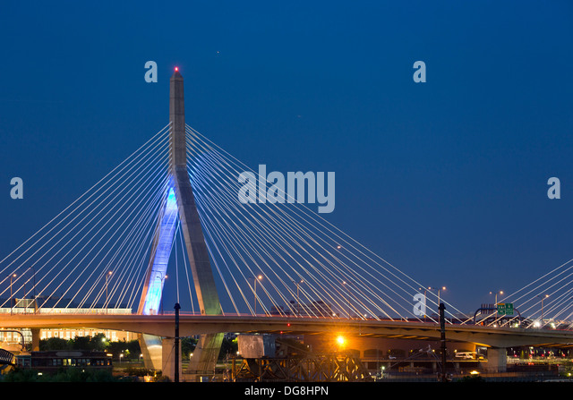 Leonard P. Zakim/Bunker Hill Memorial Bridge (Zakim Bridge), Boston, Massachusetts USA - Stock Image