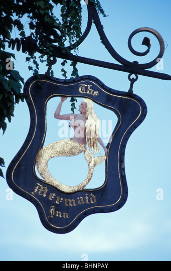 Pub sign for the Mermaid Inn Rye Sussex England United Kingdom - Stock Image