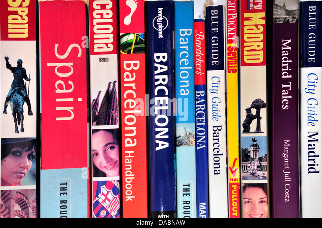 Travel guidebooks to Spain - Stock-Bilder