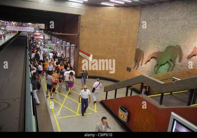 Santiago Chile Metro Station Universidad de Chile subway public transportation rapid transit train public art Hispanic - Stock Image
