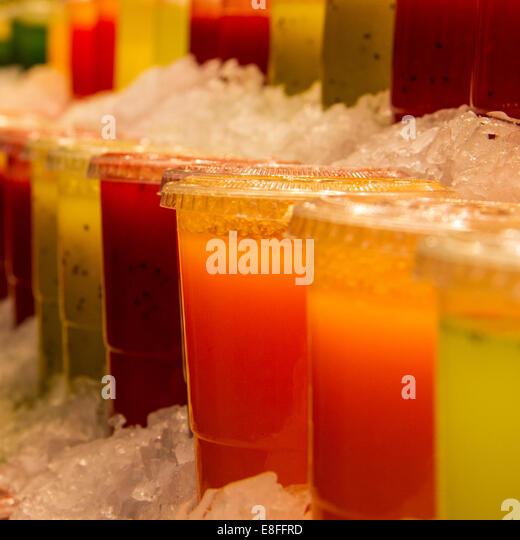 Close-up of fruit juices - Stock-Bilder