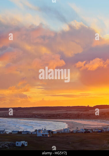 Uruguay, Rocha Department, Elevated view of the Cabo Polonio at sunset. - Stock Image