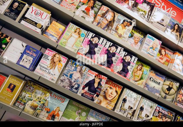 Atlanta Georgia Hartsfield-Jackson Atlanta International Airport concession newsstand display rack beauty women's - Stock Image
